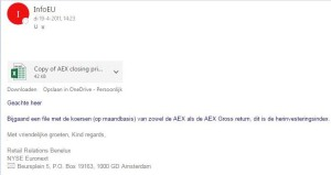 email euronext 19 april 2011